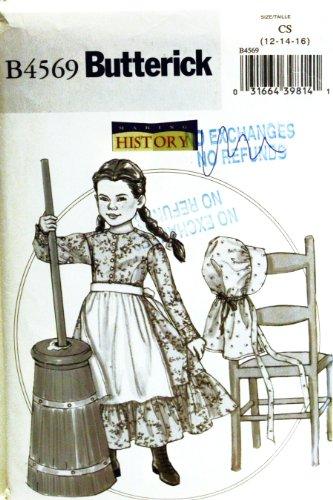 OOP Butterick Costume Pattern B4569 or 4569. Girls Szs 12;14;16 Colonial/prairie Dress, Apron, Pantaloons &