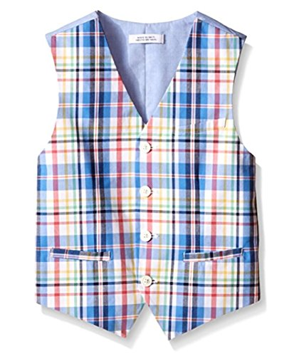 IZOD Big Boys' Plaid Vest, Medium Blue, Small