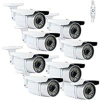(Pack of 8) GW Professional 1200TVL 1/3 Sony CMOS CCTV Outdoor Surveillance Video Security Bullet Camera w/ Power Supply Kit - 1200 TV Lines, 2.8~12mm Varifocal Lens, 64 IR LED. WDR. OSD Menu