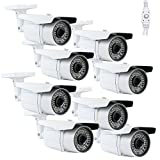 (Pack of 8) GW Professional 1200TVL 1/3'' Sony CMOS CCTV Outdoor Surveillance Video Security Bullet Camera w/ Power Supply Kit - 1200 TV Lines, 2.8~12mm Varifocal Lens, 64 IR LED. WDR. OSD Menu