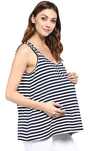 Wobbly Walk Maternidad rayas de algodón con estilo impresas Top sin mangas Mujeres Azul y blanco
