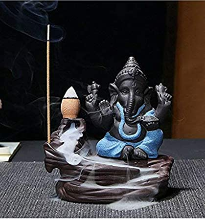 Arham Trades Ganesha Smoke Fountain Incense Burner Lord Ganeshji Smoke Backflow Cone Incense Holder Decorative Showpiece Idol Incense Fountain Statue with Free 10 Back Flow Incense Cones (Blue) (Blue)