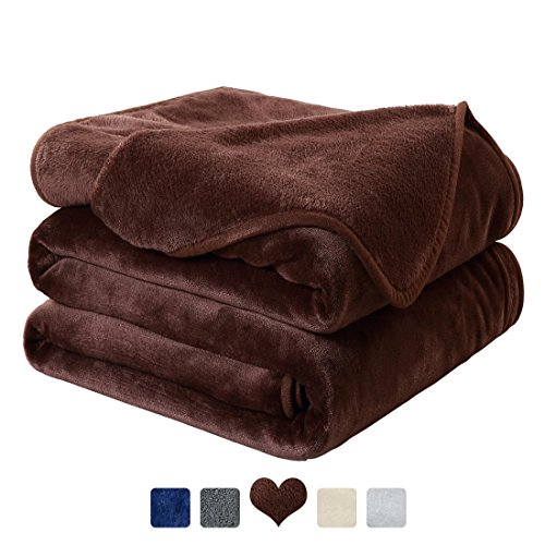 MAEVIS Fleece Luxury Blanket Super Soft Cozy Lightweight Plush Fur Warm All Season Throw for Bed and Couch (King, Chocolate) - Chocolate Plush Blanket