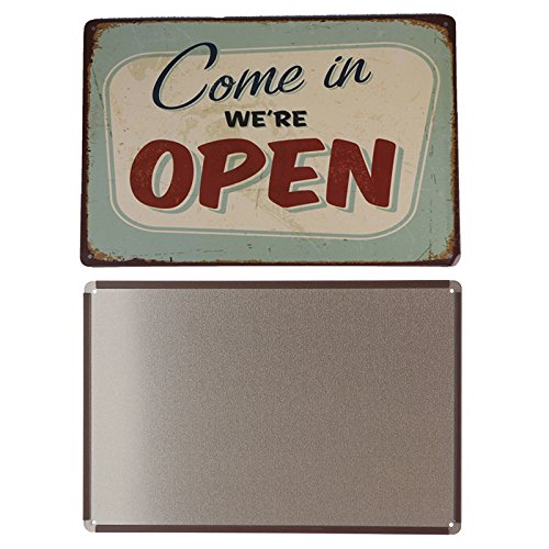 COME IN WE ARE OPEN Metal Sign Tin Signs Retro Shabby Wall Plaque Metal Poster Plate 20x30cm Wall Art Coffee Shop Pub Bar Home Hotel Decor