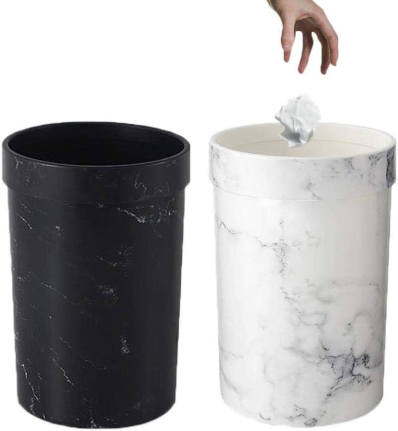 Poubelle en Plastique en Plastique Bureau Salle De Bains Cuisine Poubelle /À Compost Salon Chambre /À Coucher sans Couvercle Poubelle Kitabetty Poubelle en Marbre 8L