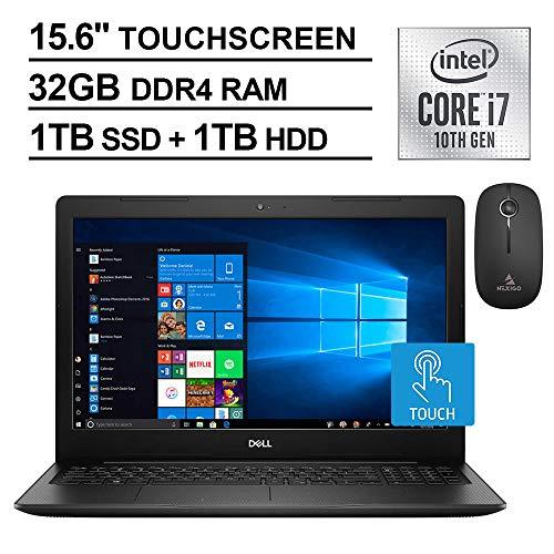 2021 Dell Inspiron 15 3000 Touchscreen Laptop, 15.6 Inch FHD 1080P, Intel Core i7-1065G7 up to 3.9 GHz, 32GB RAM, 1TB SSD (Boot) +1TB HDD, WiFi, Windows 10 + NexiGo Wireless Mouse Bundle