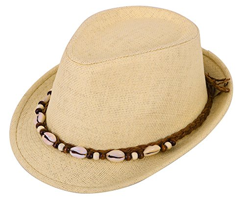 Womens Mens Short Brim Straw Fedora Hat Beads