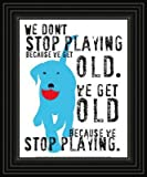 Don't Stop Playing Framed Black and White Dog Red Art Poster Print Picture