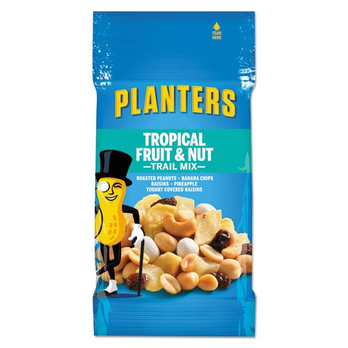 Planters - Trail Mix, Tropical Fruit & Nut, 2Oz Bag, 72/Carton