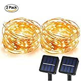 #1: Magictec Solar String Lights, 100 LEDs Starry String Lights, Copper Wire solar Lights Ambiance Lighting for Outdoor, Gardens, Homes, Dancing, Christmas Party 2 pack