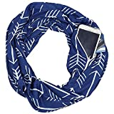 Sinwo Women Men Lovers Winter Print Warm Loop Scarf Zippered Secret Pocket Shawl Ring (Navy)