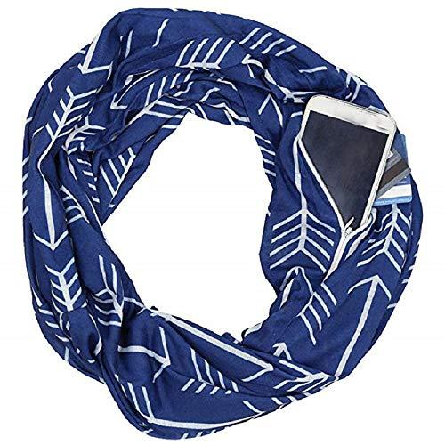 YJYDADA Socks,Unisex Lovers Winter Print Warm Loop Scarf Zippered Secret Pocket Shawl Ring (Navy)