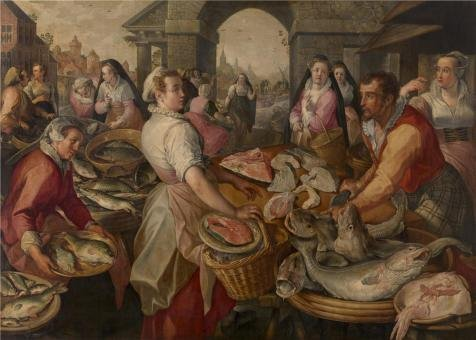 'Joachim Beuckelaer - Fish Market, 16th Century' Oil Painting, 10x14 Inch / 25x36 Cm ,printed On High Quality Polyster Canvas ,this Cheap But High Quality Art Decorative Art Decorative Prints On Canvas Is Perfectly Suitalbe For Living Room Artwork And Home Gallery Art And Gifts