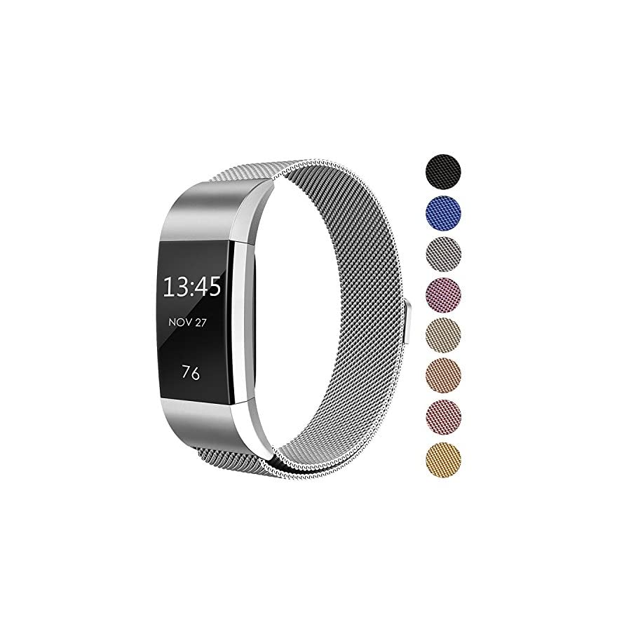 "SWEES Metal Bands Compatible Fitbit Charge 2, Milanese Stainless Steel Metal Magnetic Replacement Wristband Small & Large (5.5"" 9.9"") for Women Men, Silver, Champagne, Rose Gold, Black, Colorful"