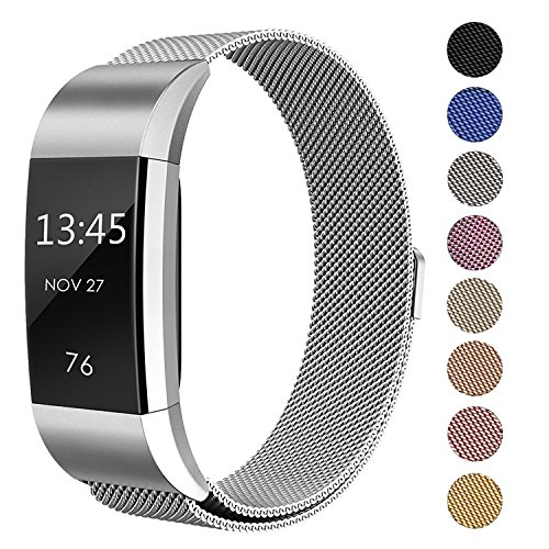 Swees For Fitbit Charge 2 Bands Metal Small & Large (5.5 - 9.9), Milanese Stainless Steel Magnetic Replacement Wristband,Silver