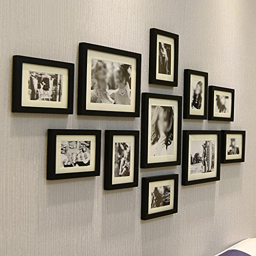 HETAO photo wall frames Solid Wood Simple Modern Decorative Paintings Photo Frame Hanging Wall 11 Combination Living Room TV Wall 135 70cm, i