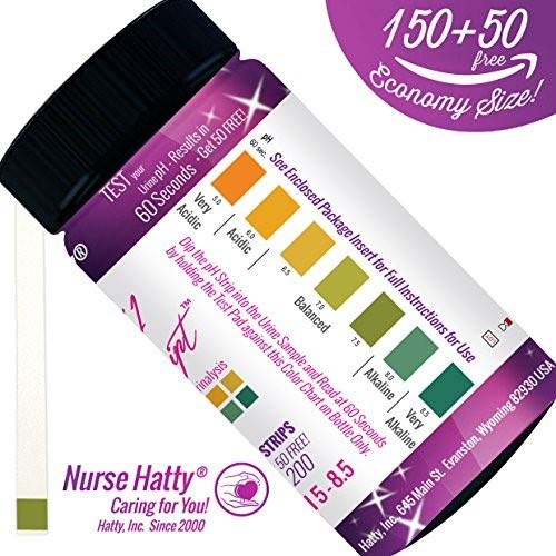Nurse Hatty 200ct. OTC pH Strips + BONUS PDF Info. Pack To Benefit Your pH Health - pH Test Strips for Professional & Home...