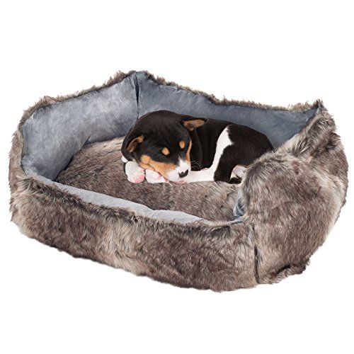 PETMAKER small Faux Fur Gray Wolf Dog Bed - 23 x 19