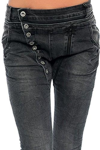 L1814 Damen Jeans Boyfriend Baggy Damenjeans Hüfthose Knöpfe Schwarz