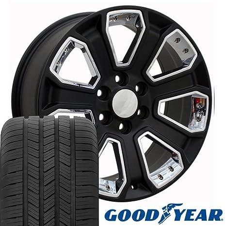 20 x 8,5 ruedas Llantas y neumáticos para GM Camiones - Chevy Silverado estilo - Juego de insertos de W/cromado - de satén: Amazon.es: Coche y moto