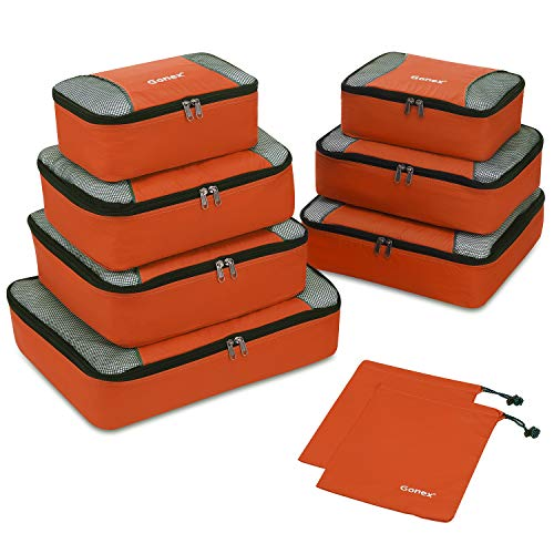 Gonex Rip-Stop Nylon Travel Organizers Packing Bags Orange (Best Packing Cubes Reviews)