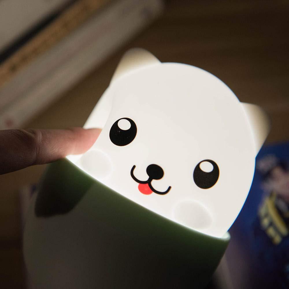 Welpenlampe Welpen silikon lampe, akku nachtlicht, niedlichen niedlichen haustier pat lampe, dekompression schlafzimmer nachttischlampe@Welpenlampe