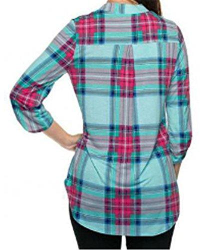 Carreaux Automne Col Casual Manche shirts T Blouse Femme Longue V green Tops Elegant TqAYExw5