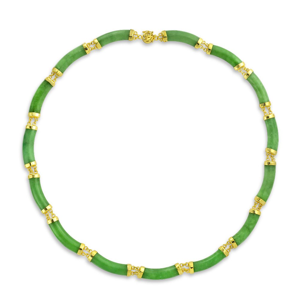 Bling Jewelry Green Jade Link Gold Plated Statement Necklace 17.5 Inches by Bling Jewelry