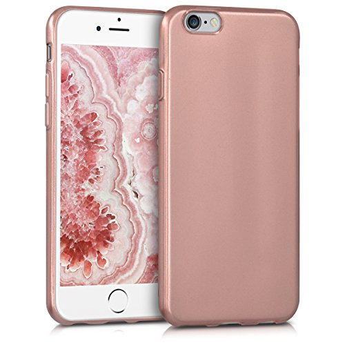 kwmobile TPU Silicone Case for Apple iPhone 6 / 6S - Soft Flexible Shock Absorbent Protective Phone Cover - Rose Gold High ()