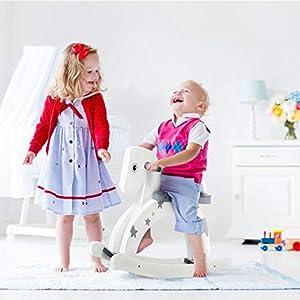 [HOT on Sale] Labebe Child Rocking Horse, Wooden Rocking Horse Toy, Stars Printed Grey Rocking Horse for kid 1-3 Years, Baby Rocking Horse/Kid Rocking Horse/Outdoor Rocking Horse/Rocker/Animal Ride