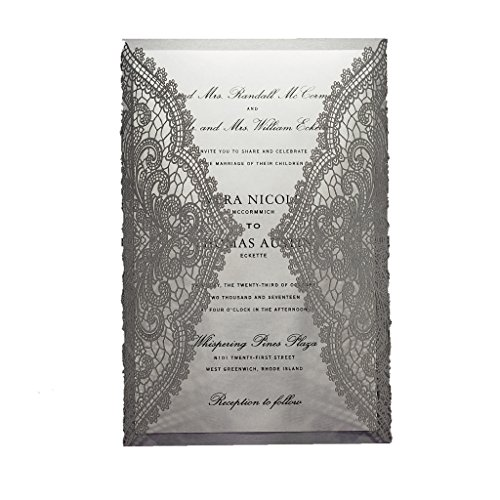Silver Unique Laser (Chantilly Lace Laser Cut A9 Wedding Invitation, Pack of 25 (Silver Shimmer))