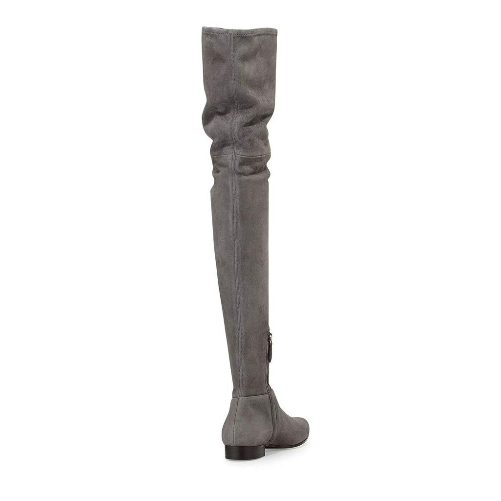 Women's Thigh Boots Winter Plus Velvet Zipper Boots Short Zipper Velvet Over The Knee Boots with Flat Bottom Flat Black and Gray,Gray,35 B07GTMD4JP Boots ccdd25