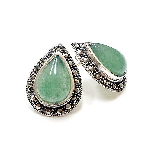 Pearl Mother Of Earrings Turquoise (Sterling Silver Marcasite Teardrop Gem (Jade, Turquoise, Onix, Mother of Pearl) Stud Earrings (Green))