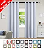 Yakamok Room Darkening Blackout Curtains Easy Care Solid Thermal Insulated Draperies with Grommet for Bedroom, 52 by 63 inch, Greyish White, 2 Panels