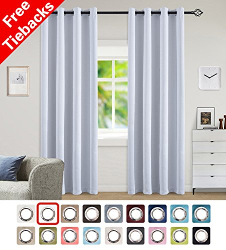 Yakamok Room Darkening Blackout Curtains Easy Care Solid Thermal Insulated Draperies with Grommet for Bedroom, 52 by 63 inch, Greyish White, 2 Panels by Yakamok