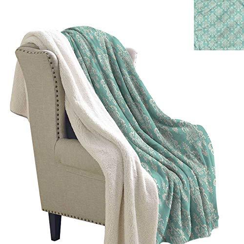 Damask Throw Blanket Nostalgic Delicate Foliage Lightweight All-Season Blanket 60x32 Inch