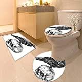 Printsonne 3 Piece Bathroom Mat Set Scary Movies Theme Crow Bird Sitting on a Human Old Skull Sketchy Image Soft Shaggy Non Slip
