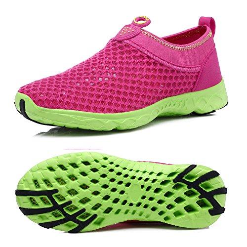 Water Quick Red Aqua Lightweight Athletic Drying Men's Shoes Women's Slip Qiucdzi Rose on shoes and walking Mesh qfwxT1t0np