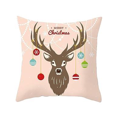 BHYDRY Funda de almohada de almohada de tiro cuadrada súper blanda de Navidad 45x45 cm Decoración para el hogar: Amazon.es: Amazon.es