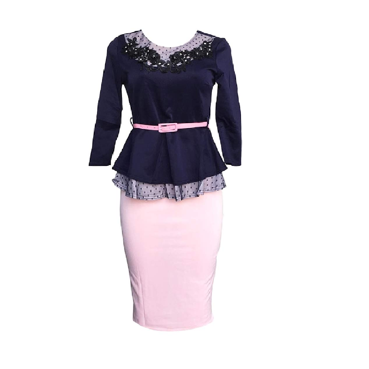 Winwinus Womens Business 2pcs Bodycon 2//3 Sleeve Patchwork Skirt Suits