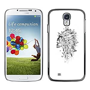 LECELL--Funda protectora / Cubierta / Piel For Samsung Galaxy S4 I9500 -- Skull Indian Headgear Feather White --