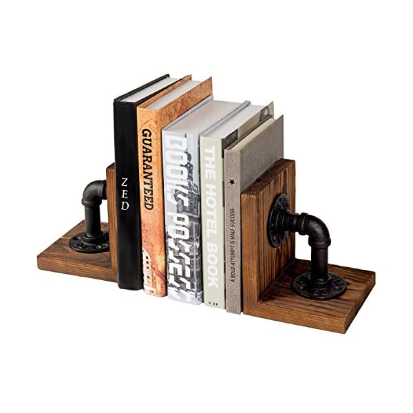MyGift Industrial-Style Pipe & Rustic Wood Tabletop Bookends, 1-Pair 3