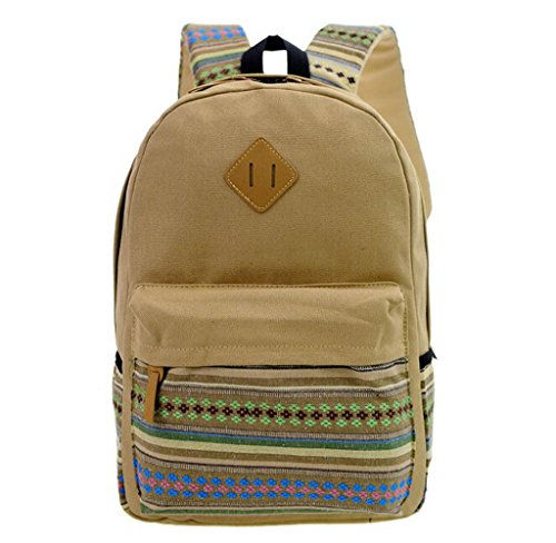 Unisex Mochila de Almacenamiento Grande, Holacha Bolso Backpack Estilo Etnico Retro caqui