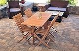 Teak Patio Furniture Zenvida 5 Piece Folding Teak Patio Dining Set