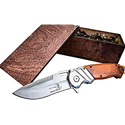 Pocket Knife & Wood Box- Boyfriend or Groomsmen Wooden Gift Boxes- Groomsman Hunting Set- Sharp Elk Ridge Folding Blade, Spring Assisted Open, w/Clip- Mens Husband Wedding Gifts 003SW