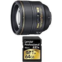 Nikon 85mm f/1.4G AF-S NIKKOR Lens and 64GB Card Bundle - Include Lens and Memory Card