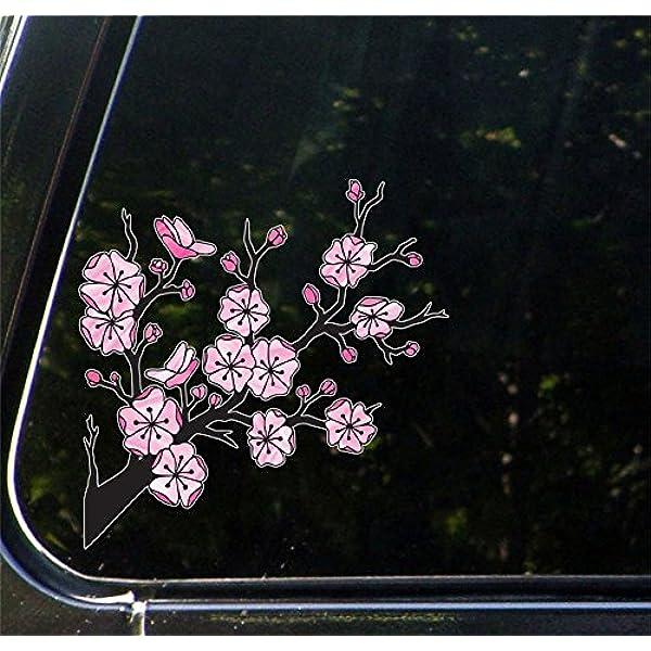 Amazon Com Stained Glass Cherry Blossom Branch Sakura Branch Car Vinyl Decal Sticker Original Artwork By Yadda Yadda Design Co 5 5 W X 5 5 H Kitchen Dining