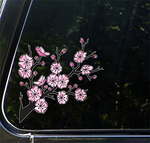 Yadda-Yadda Design Co. Stained Glass Cherry Blossom Branch - Sakura Branch - Car Vinyl Decal Sticker - Copyright 2014 Original Artwork (5.5