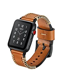 Apple Watch Band 38mm, SUNKONG Men/Women Apple Watch Band Genuine Leather Strap Replacement Brown, Apple Watch Band series 3 series 2 series 1