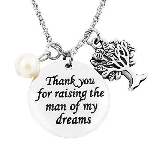 ALoveSoul Mother in Law Gifts - Gifts for Women Stainless Steel Thank You for Raising The Man of My Dreams Mother of The Groom Gifts Necklace
